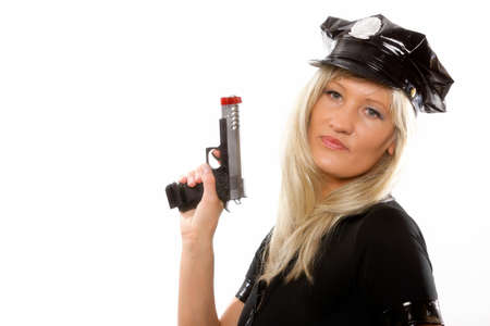 Portrait blonde female police with gun isolated on the white background photo