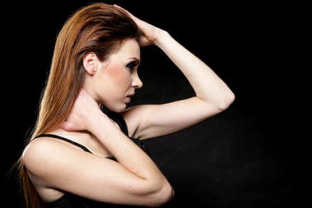 subculture: Subculture - face profile beauty punk girl studio shot black background