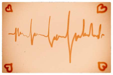 cardioid: coraz�n late electrocardiograma s�mbolo de la salud y estilo de vida saludable fondo naranja Foto de archivo