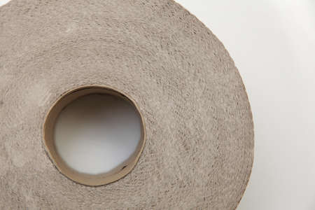 Roll of bathroom tissue. Close up of toilet paper from the recycling Stock Photo - 18511872