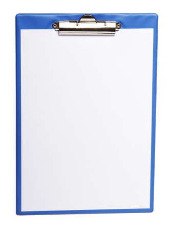Blue clipboard with blank sheet paper isolated on white background photo