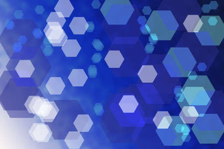 Bokeh abstract blue techno background with hexagons photo