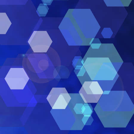 Bokeh abstract blue techno background with hexagons Stock Photo - 18733145
