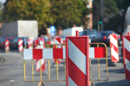traffic signs Road Closed warning sign roads Stock Photo - 18906598