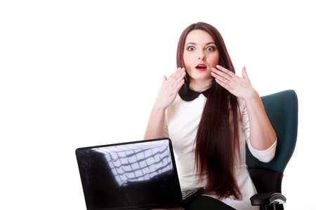 mmc: business woman reading bad news at laptop isolated on white background