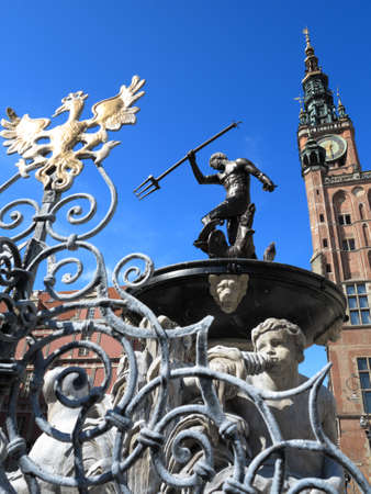neptun: Neptune Fountain and the Main Town Hall in city Gdansk - Poland