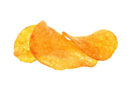 Crisps. Potato paprika chips isolated on white background photo