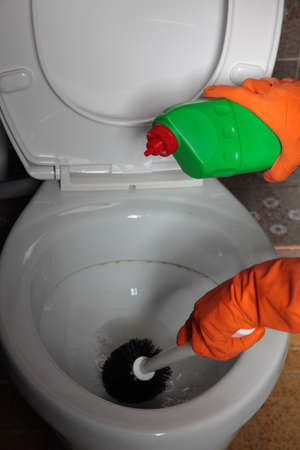 Female hand in orange rubber glove cleaning toilet bowl using brush. Clean up your house. Stock Photo - 19367023