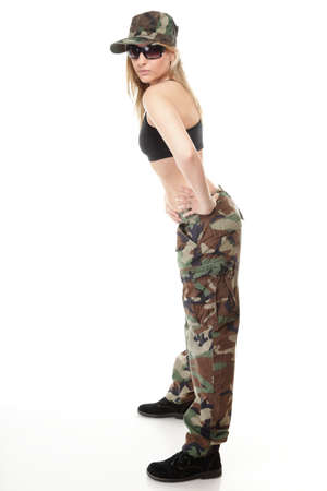 Full length beautiful woman in military clothes isolated on white background. photo