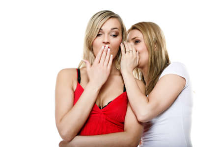 Gossip rumour woman telling secrets to your girlfriend, secrets spreading over white background photo