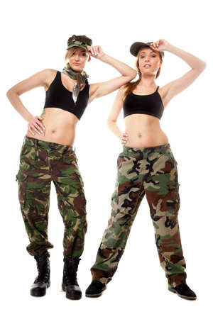 Full length two women in military clothes army girls isolated on white background. photo