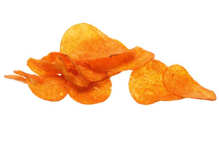 fattening: Crisps. Potato paprika chips isolated on white background