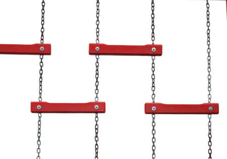 Chain red ladder hanging on the white background photo