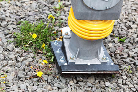 compacting: Industry tool for compacting a sand soil plate compactor jumping jack construction machine