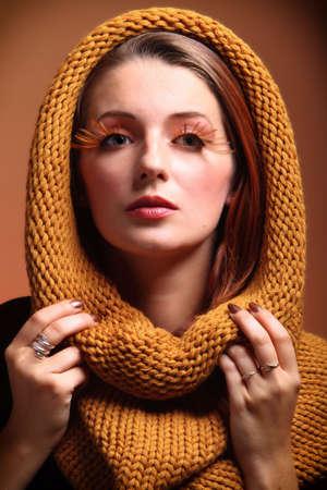 fresh girl: Autumn woman in fashion female, fresh girl false long orange eye-lashes autumn colour