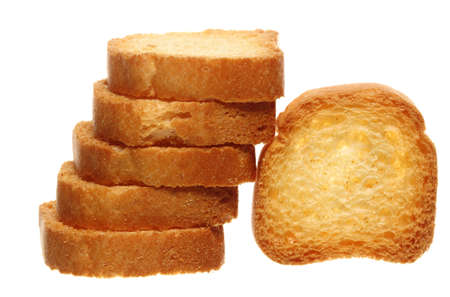 sweet rusks bread loaf toast biscuits isolated on white. Diet food healthy nutrition. photo