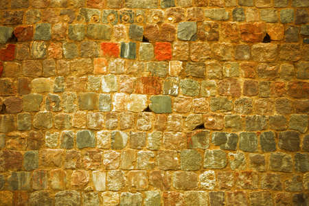 Old brick stone wall texture pattern grunge brown background photo