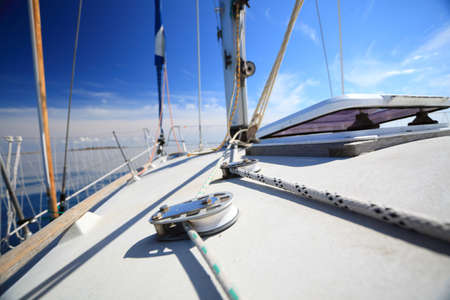 Yachting yacht sailboat sailing in baltic sea blue sky sunny day summer vacation. Tourism luxury lifestyle. photo