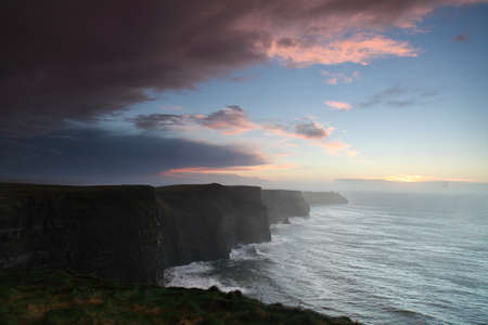 irish landscape: Famous cliffs of Moher at sunset in Co. Clare Ireland natural attraction