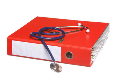 Healthcare, blue stethoscope and red file folder isolated on white photo