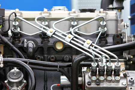 supply system for diesel fuel, clean motor block,  diesel engine detail Stok Fotoğraf