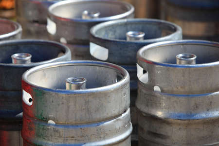 Lots of metal barrels beer kegs at factory brewery Stock Photo - 22175385