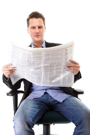 businessman sitting on chair reading a newspaper isolated on white background photo