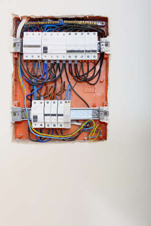 Electrical installation. Close up electrical panel electricity distribution box with wires fuses and contactors photo