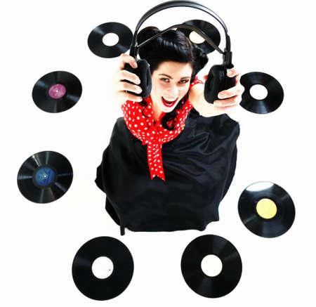 analogue: style Sexy phonography analogue record American Girl pin-up retro woman