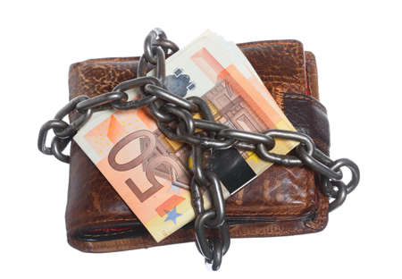 End of personal spending. Wallet euro banknote currency in chain isolated on white photo