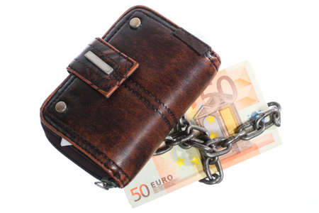 geld: End of personal spending. Female purse euro banknote currency in chain isolated on white Stock Photo