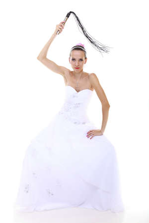 Wedding Day. Full Length Young Attractive Bride In White Dress ...