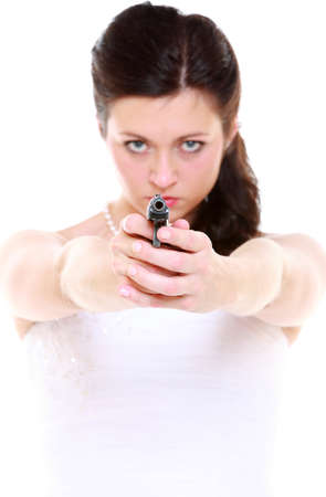 detective spy woman brunette holding gun isolated on white background photo