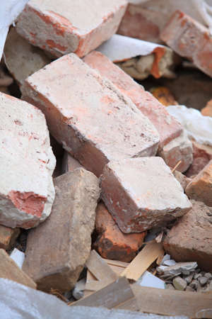 demolished house: Full construction waste debris bags, garbage bricks and material from demolished house