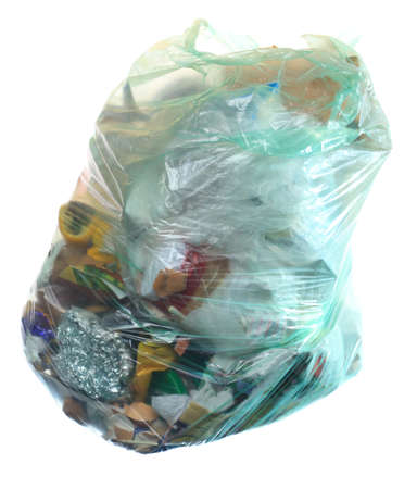 segregate: Green rubbish bag with mixed trash garbage isolated on white background