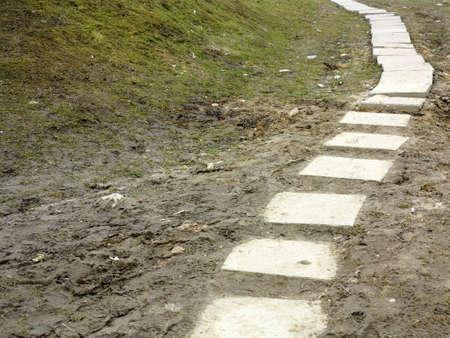 Stone path trail climbing through a muddy dirty park, brick sidewalk photo