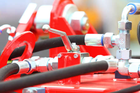 hydraulic hoses: Hydraulic connections hoses of a machinery industrial detail