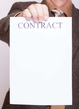 Business Concept Signing Contract. Businessman Giving Blank Empty ...