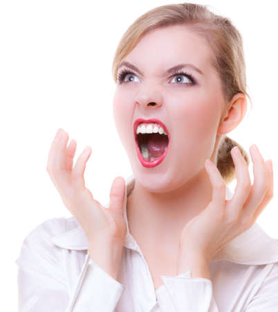 woman screaming: Angry businesswoman boss screaming with mouth wide open. Crazy mad girl shouting. Trouble in work. Business concept. Studio shot. Isolated on white.