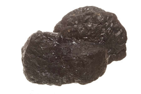 bituminous coal: Coal lumps carbon nugget isolated on white. Power and energy source. Stock Photo