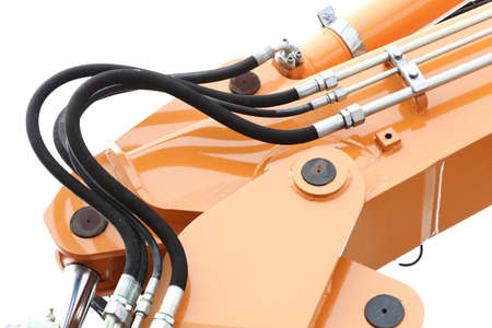 Detail of hydraulic bulldozer excavator arm construction machinery white background Stock Photo