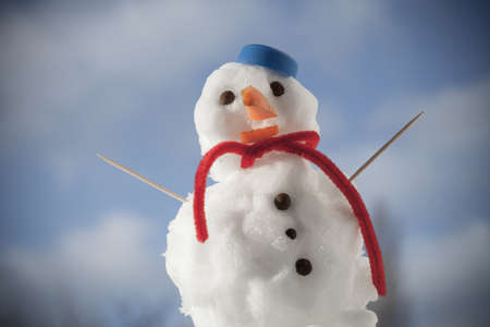 Little happy christmas snowman in blue screw top as hat red scarf and with toothpick outdoor. Winter season seasonal specific. Blue sky background.