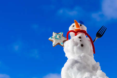 Little happy christmas snowman in blue screw top as hat red scarf and with fork gingerbread cake cookie star outdoor. Winter season seasonal specific. Blue sky background. photo