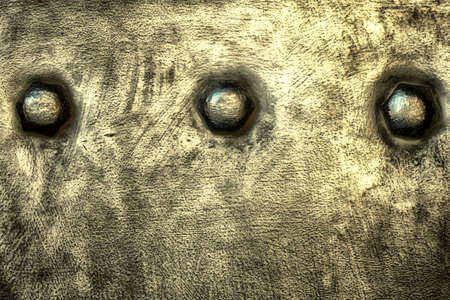 stell: Closeup of grunge gray grey metal plate with rivets and screws texture