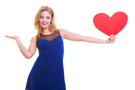beautiful woman hold Valentine day symbol photo