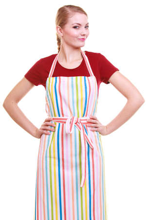 Young housewife wearing kitchen apron or small business owner entrepreneur barista shop assistant  isolated on white photo