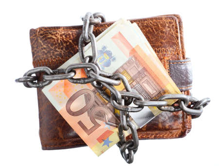 End of personal spending  Wallet euro banknote currency in chain isolated on white