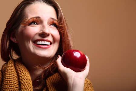 fresh girl: Autumn woman apple fashion female, fresh girl glamour eye-lashes Stock Photo
