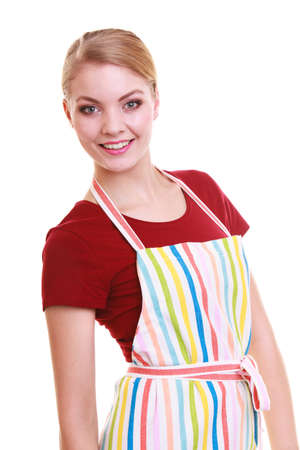 Happy housewife in kitchen apron or small business owner entrepreneur barista shop assistant isolated photo