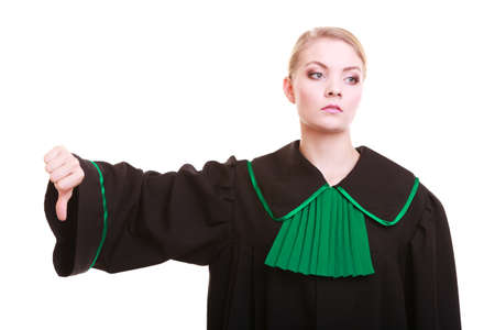 female judge: Law court or justice concept  Woman female person lawyer attorney wearing classic polish  Poland  black green gown, making thumb down hand sign dislike gesture isolated on white background